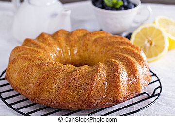 Lemon marble bundt cake served with blueberries