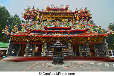 a temple in Alishan forest amusement park,Taiwan
