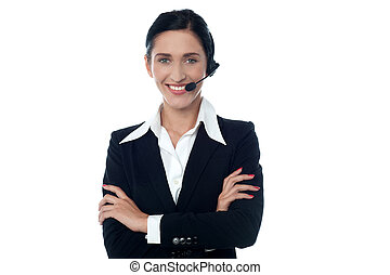 How may i help you - Smiling representative in headset...