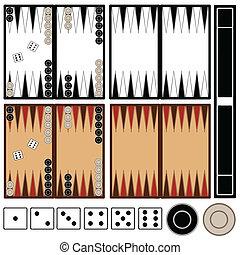 Backgammon game isolated on white