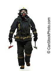 bombero, hacha, Llevando, Oxígeno, máscara,...