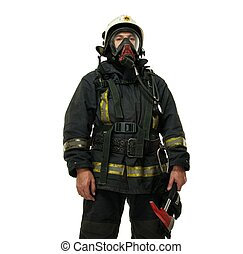 Firefighter with axe and wearing oxygen mask isolated on...