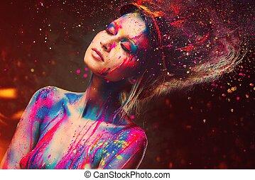 joven, mujer, musa, creativo, cuerpo, arte, peinado