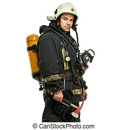 Firefighter with axe and oxygen balloon isolated on white