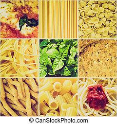 cibo,  collage, sguardo,  retro, italiano
