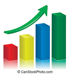 Business growth graph with green arrow. Vector illustration.