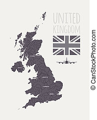 Vector set with map UK - Vector set with map, text, flag,...