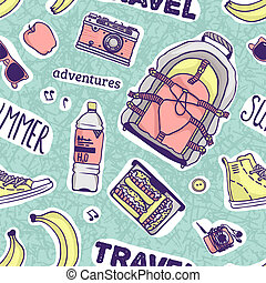 Pattern with stuff for summer - Seamless vector pattern with...