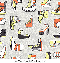 Vector pattern with original shoes - Seamless vector pattern...
