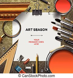 Art supplies template with artist tools, vector Eps10...
