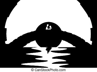 Artsy Lovers Bridge - An abstract silhouette of a couple...