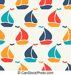Seamless vector pattern of colorful sailboat shape Endless...