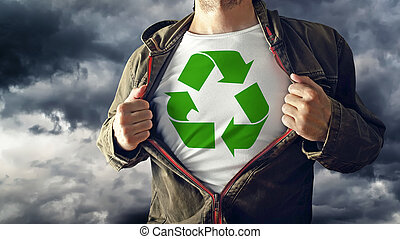 Man stretching jacket to reveal shirt with recycle symbol...