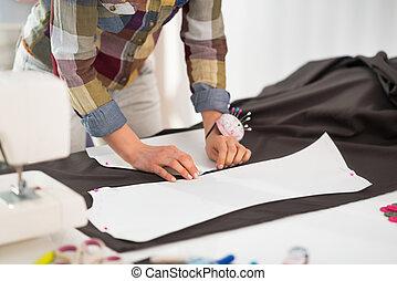 patrón, costurera, Primer plano, tela, Elaboración