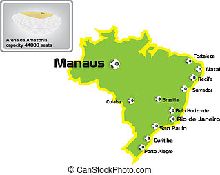 manaus stadium with map location