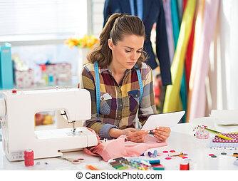 PC, trabajo, costurera, tableta, Utilizar