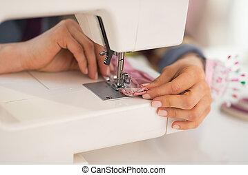 Primer plano, costurera, Costura, estudio