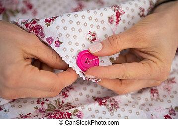 Primer plano, botón, Costura, costurera