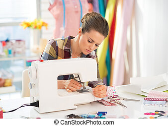 máquina, Costura, costurera, trabajando