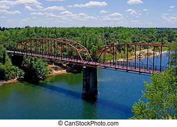 Old Red Bridge over the American River in Fair Oaks...