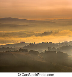 Hazy Sunrise over tuscan Hills