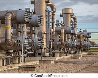 Natural gas plant - Modern natural gas field in the...