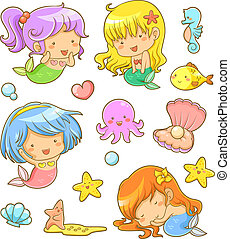 mermaids collection - collection of adorable mermaids and...