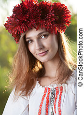 Close-up portrait of ukranian girl in traditional costume