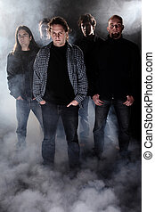 Band - Group portrait of a rock band.
