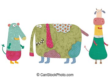Set of cartoon characters - Colorful graphic illustration...
