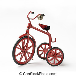 vintage toy tricycle - tiny red toy vintage metal tricycle...