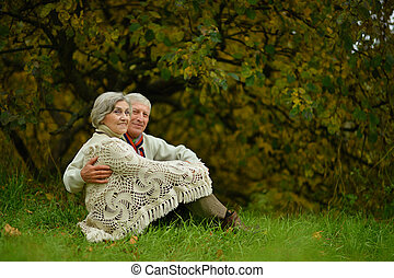 Happy elderly couple sitting on grass in park