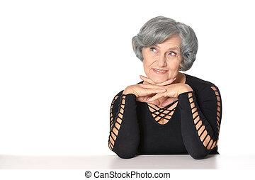 Senior lady isolated - Happy senior lady isolated on a white...