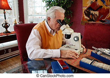 Coin Collector - Senior citizen studying his coin collection