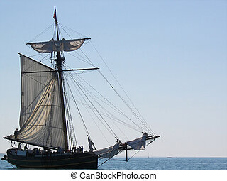 Vintage Vessel - Old sailing vessel on Lake Michigan