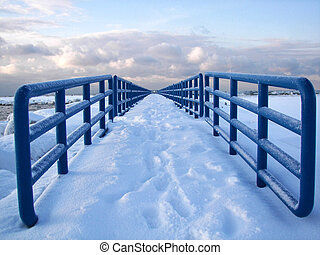 Winter Pier - Snow covered pier in the harbor.