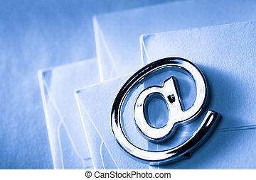 email, sinal, em branco, envelope