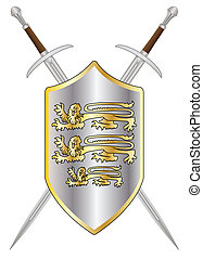 Crossed Swords and Shield - A sword typical of a knight of...