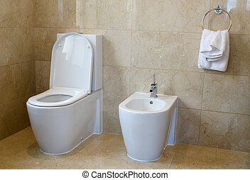 Toilet and Bidet - Toilet and bidet in a marble tiled...