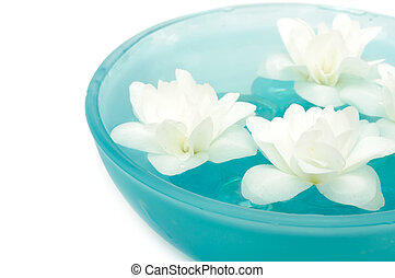 Beautiful Jasmine Flowers in Bowl on White Background