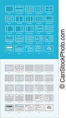 Set of website wireframes - Set of different layouts for...