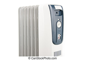 Oil heater isolated on white background