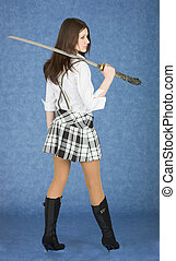 Beautiful girl with the Japanese sword