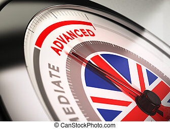 Learning English, Course Level. - Close up of a dial with...