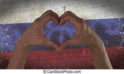 Hands Heart Symbol Russian Flag - With a stylized Russian...