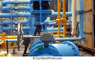 Blue and Yellow Air Conditioning Cooling Pipes - Large steel...
