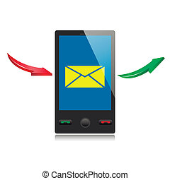 mobile smart phone with message icon on a screen