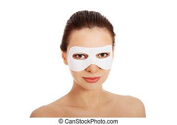 hermoso, mujer, máscara, Colágeno