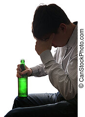 Sad Man in Alcohol addiction - Silhouette of Depressed Young...