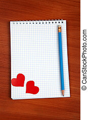 Writing Pad on the Table - Blank Writing Pad with Heart...